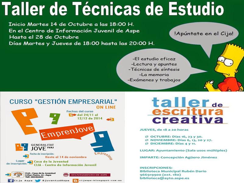 Photo of Talleres en Aspe de técnicas de estudio, de escritura de relatos y curso de gestión empresarial