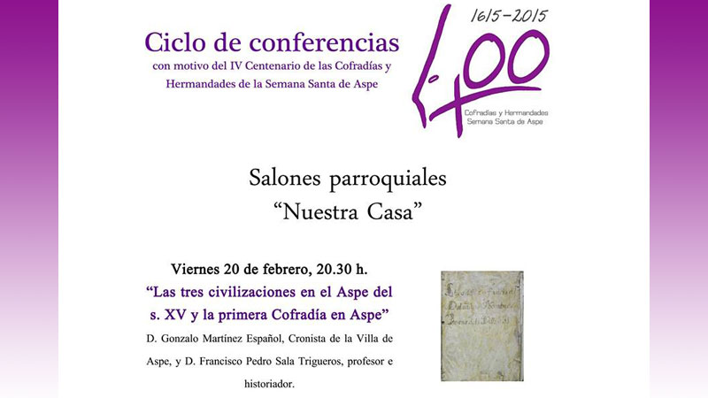 Photo of Ciclo de conferencias sobre el IV Centenario de las cofradías de Aspe