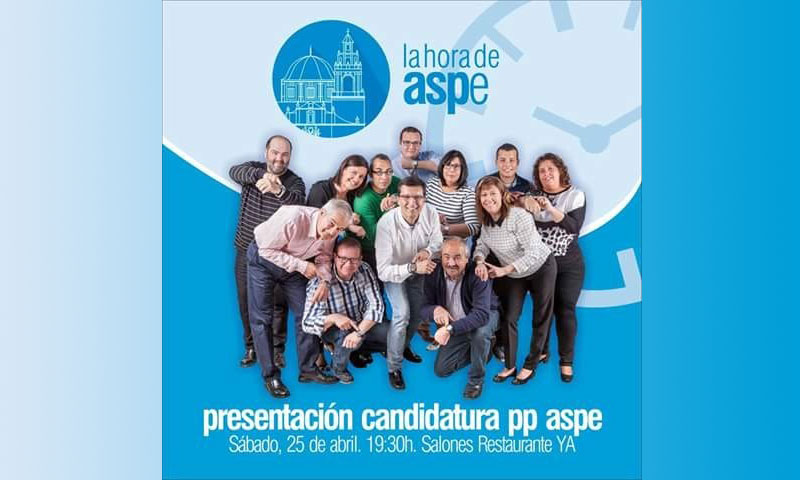 """Photo of El Partido Popular de Aspe presenta su candidatura el próximo sábado en los salones del Restaurante """"YA"""""""