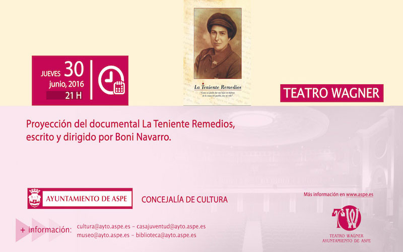 "Photo of #Aspe – Proyección del documental ""La Teniente Remedios"" en el teatro Wagner"