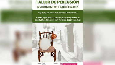 Photo of #Aspe: Alboroque organiza un Taller de Percusión