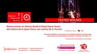 """Photo of #Aspe: """"Tosca""""  llega en directo al Wagner desde Londres"""