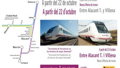 Photo of #Novelda: Renfe hace públicos los nuevos horarios del tren Novelda-Alicante