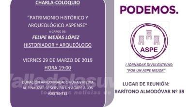 Photo of #Aspe: Podemos organiza una charla sobre patrimonio histórico local