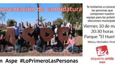 Photo of #Aspe: IU presenta su candidatura en el Parque Huerto