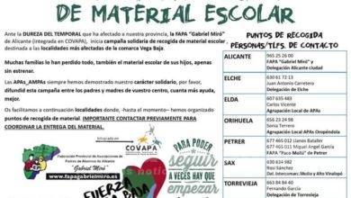 Photo of #Comarca: La FAPA Gabriel Miró recoge material escolar para la Vega Baja