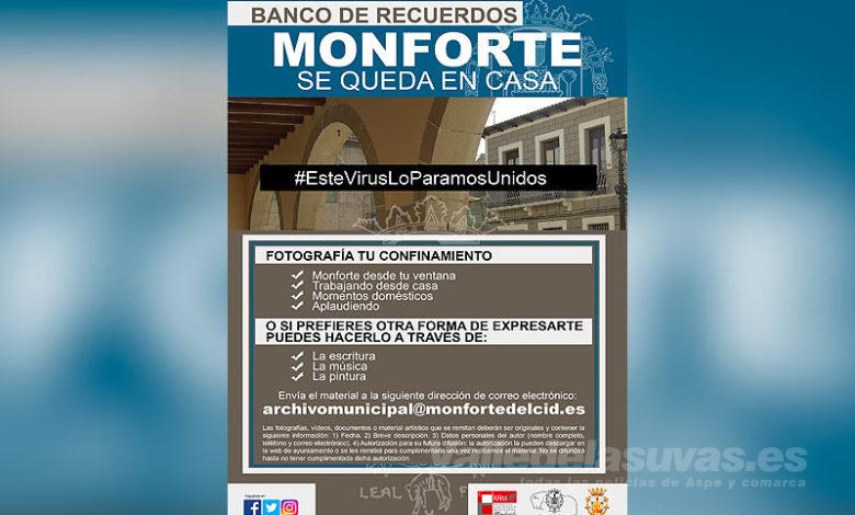 Photo of #Monforte: El Ayuntamiento organiza el Banco de Recuerdos «Monforte se Queda en Casa»