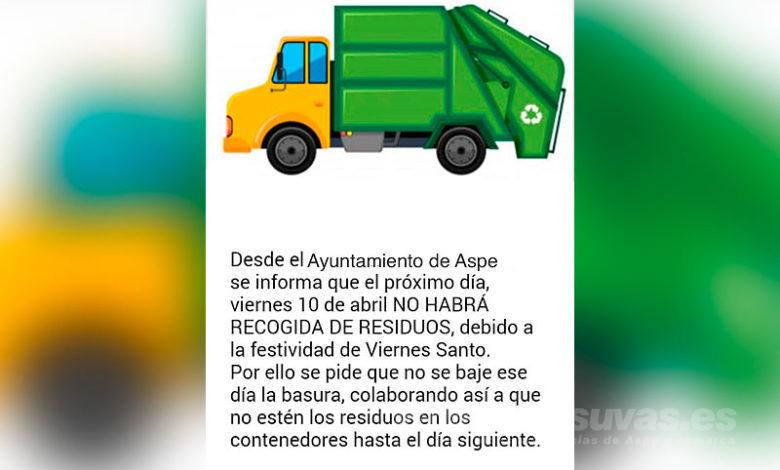 Photo of #Aspe: Este jueves no hay que sacar la basura